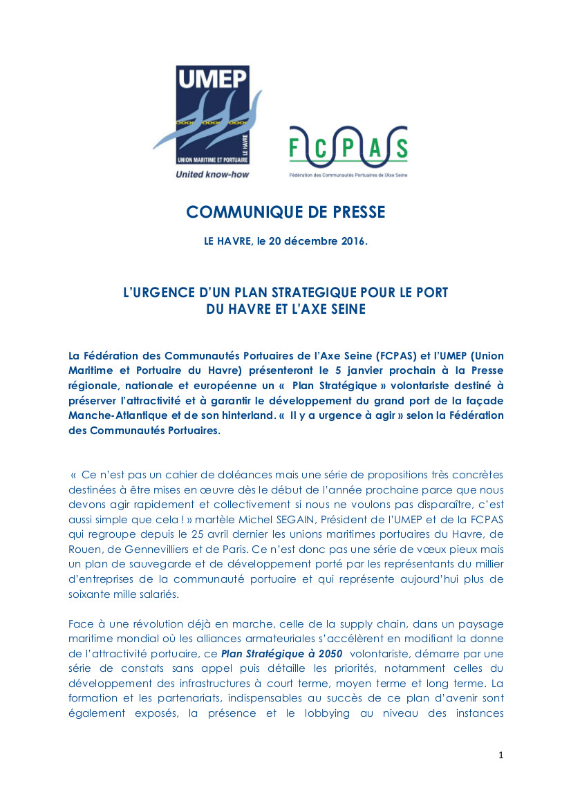 COMMUNIQUE DE PRESSE UMEP FCPAS 20.12.2016